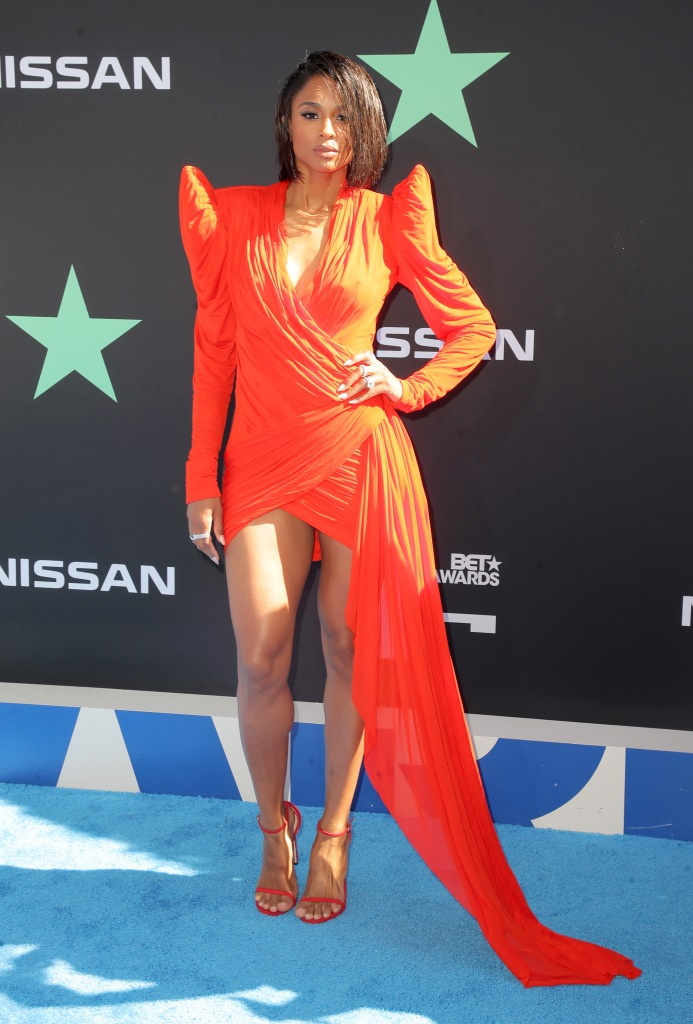 CiaraBET Awards, Arrivals, Microsoft Theater, Los Angeles, USA - 23 Jun 2019Wearing Jean Paul Gaultier, Shoes by Stuart Weitzman same outfit as Cindy Bruna on the catwalk *10068463k