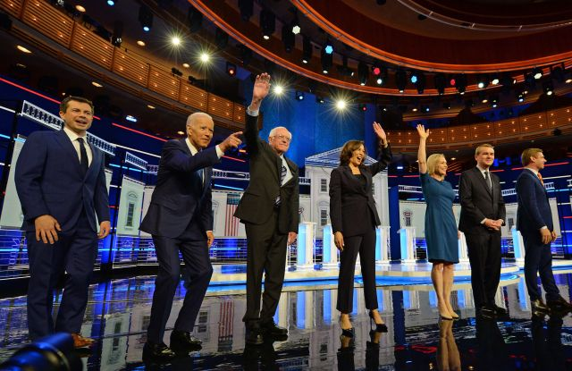Michael Bennet with Joe Biden, Pete Buttigieg, Kirsten Gillibrand, Kamala Harris, Bernie Sanders and Eric SwalwellFirst Democratic Presidential Debate, Miami, USA - 27 Jun 2019