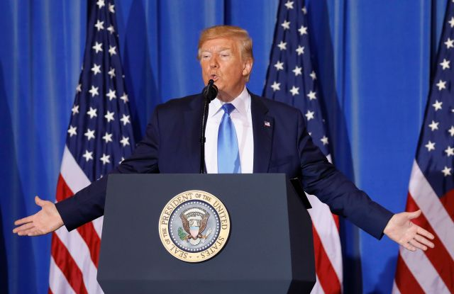 US President Donald J. Trump speaks during a press conference at a hotel in Osaka, western Japan, 29 June 2019, after closing the G20 Summit talks. It is the first time that Japan hosts a G20 summit. The summit gathers leaders from 19 countries and the European Union to discuss topics such as global economy, trade and investment, innovation and employment.G20 summit in Osaka, Japan - 29 Jun 2019