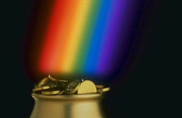 CROCK OF GOLD AT THE END OF THE RAINBOWPOT OF GOLD AT END OF RAINBOW