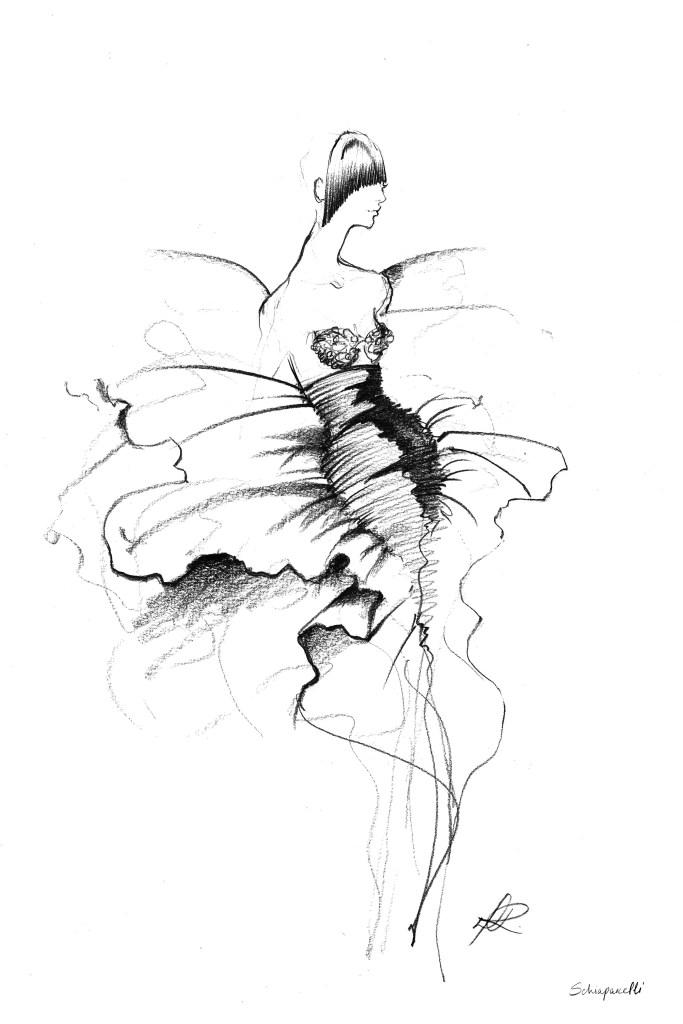 A sketch for Schiaparelli's fall-winter collection.