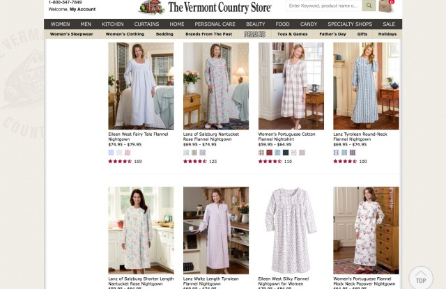 Nightgowns for sale through the Vermont Country Store exude the kind of pastoral aesthetic that has fallen into favor.