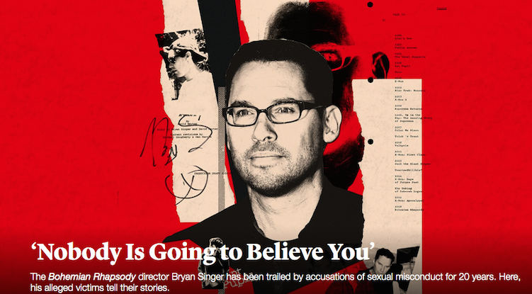 The Atlantic cover of the investigative piece on Bryan Singer, which was written and reported on for Esquire magazine.