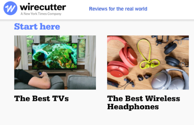 Wirecutter's electronics recommendations homepage.