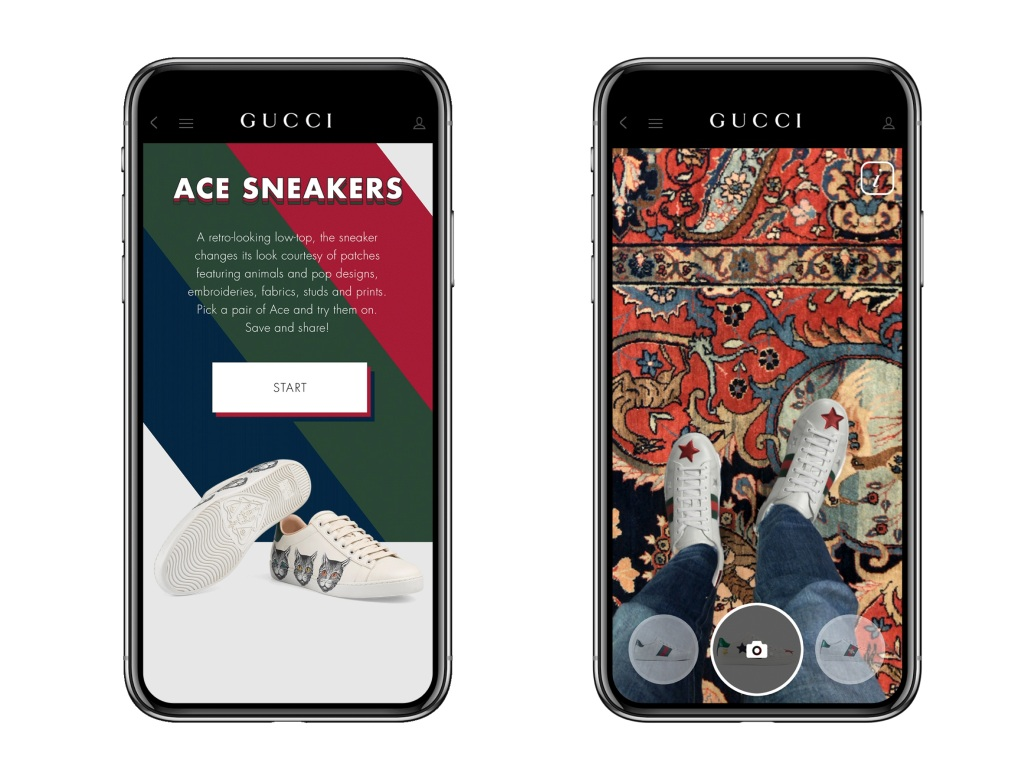 Gucci in-app AR tool allows users to virtually try the Ace sneakers on.