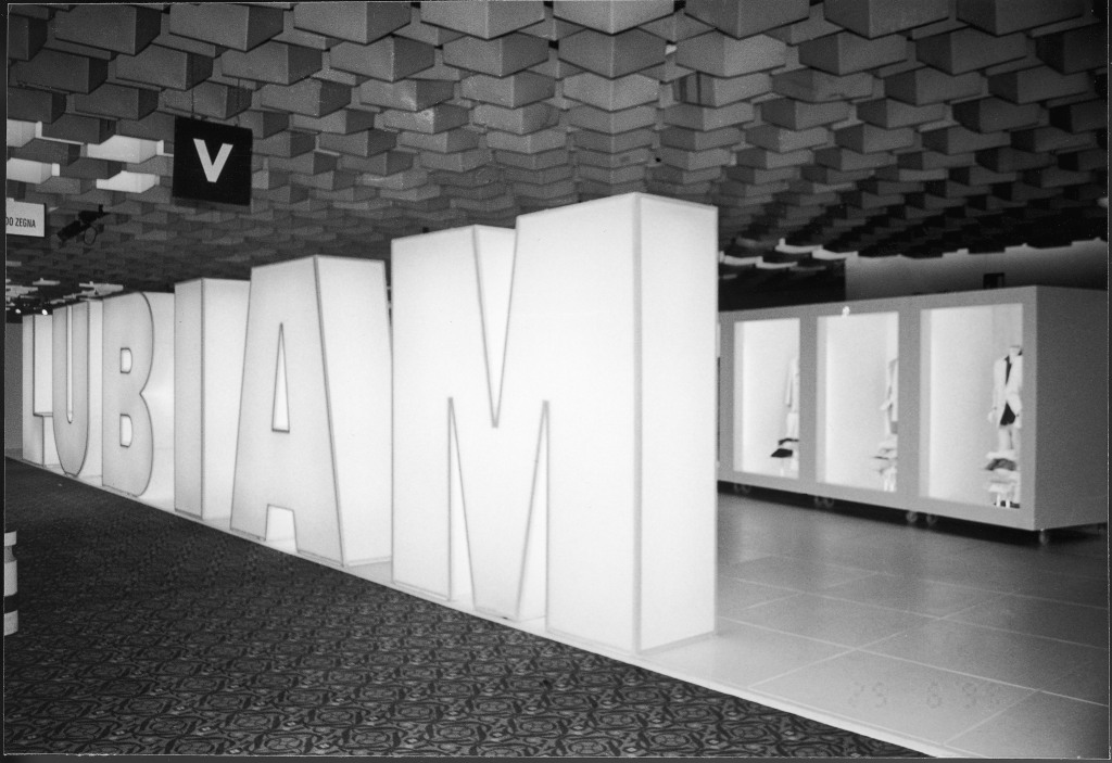 An archival image of Lubiam's booth at Pitti Uomo.