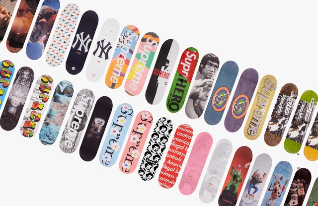 Some of Supreme Skateboard decks from the collection sold at London's Bonhams.