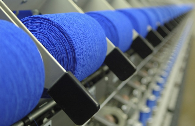 Spools of thread in a textile factory.