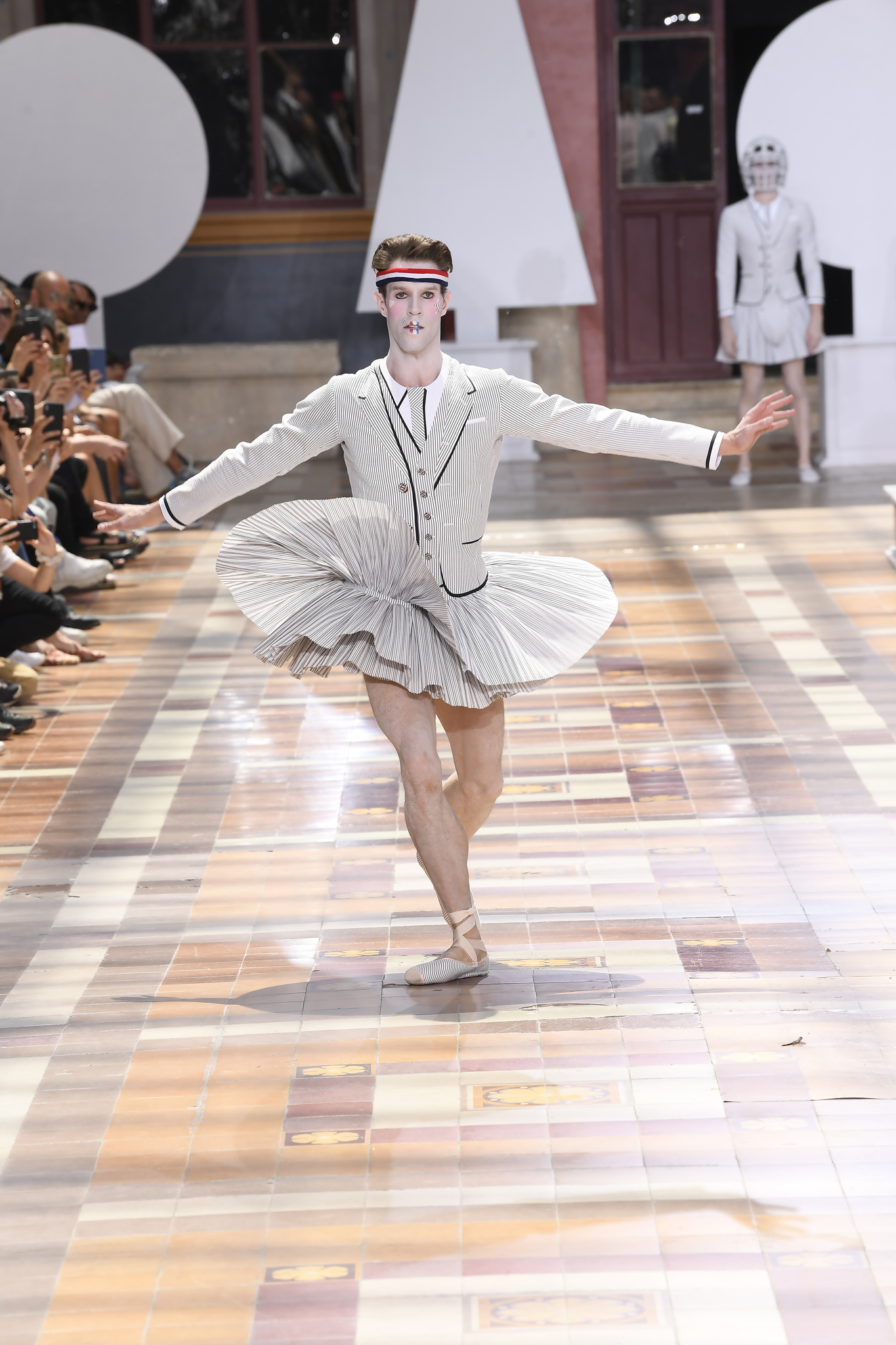 Runway at Thom Browne Men's SS 2020, photographed in Paris on June 22nd, 2019.