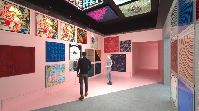 """A rendering of the """"Louis Vuitton X"""" exhibition in Los Angeles."""