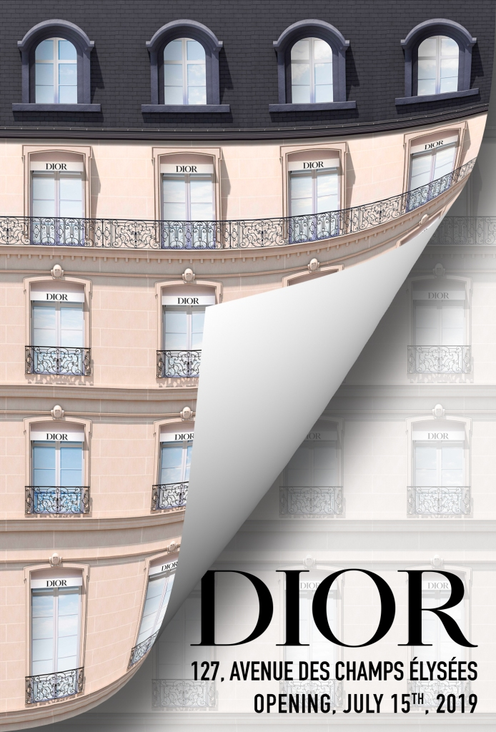 The trompe-l'oeil facade of the Dior store.