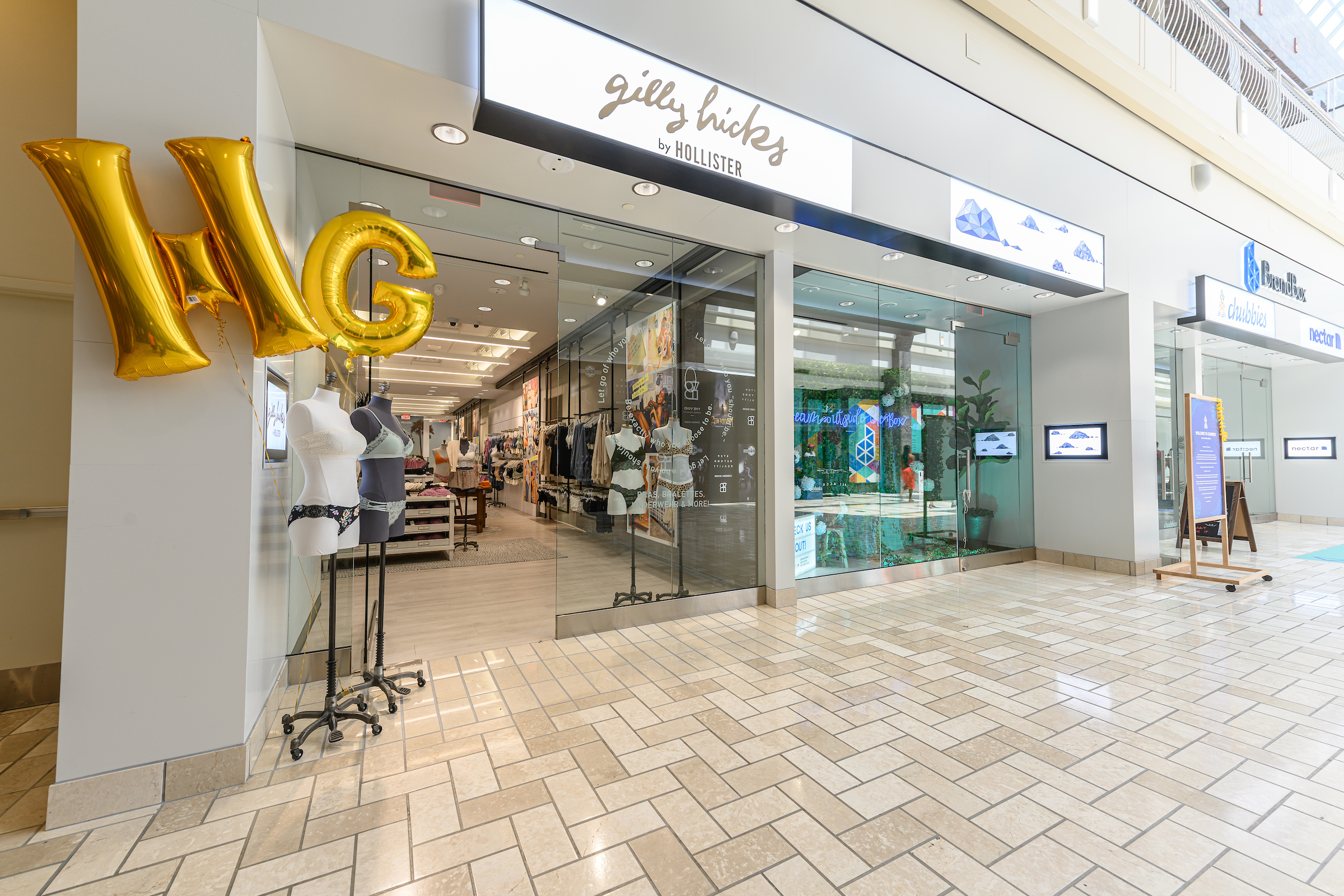 Abercrombie & Fitch brand Gilly Hicks is opening four pop-up locations.