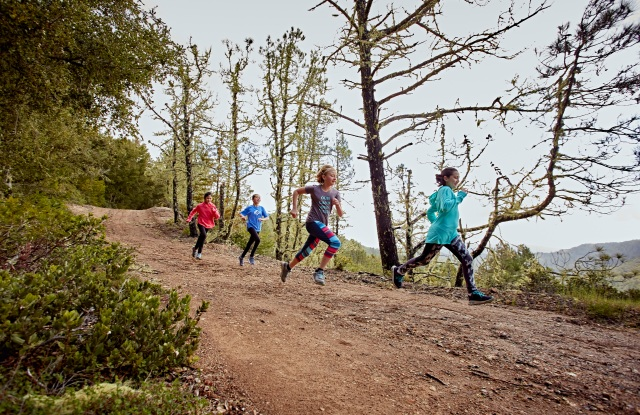 Girl Scouts working on their trail running skills.