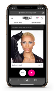 Il Makiage's Tinder-inspired swipe feature, now live on the brand's web site.