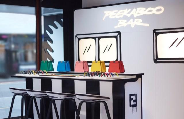 Fendi's Peekaboo customization bar at Harrods.