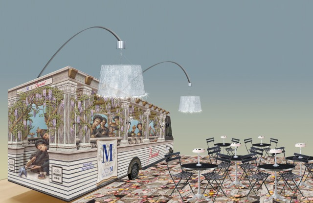 The Lady M x Baccarat cake truck will travel to California.