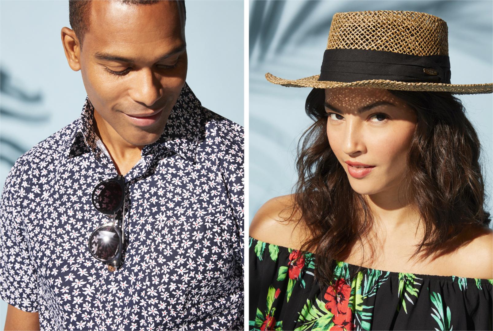 A men's look and women's look from Caribbean Joe.