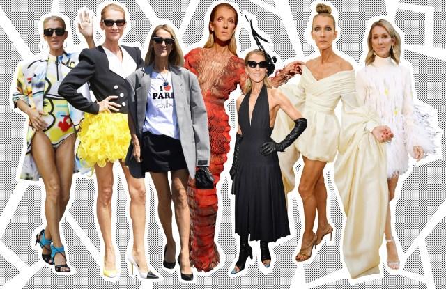 Celine Dion in various looks.