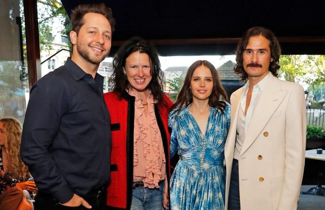 Derek Blasberg, Katie Grand, Felicity Jones and Ben Cobb at the #MovingLove dinner
