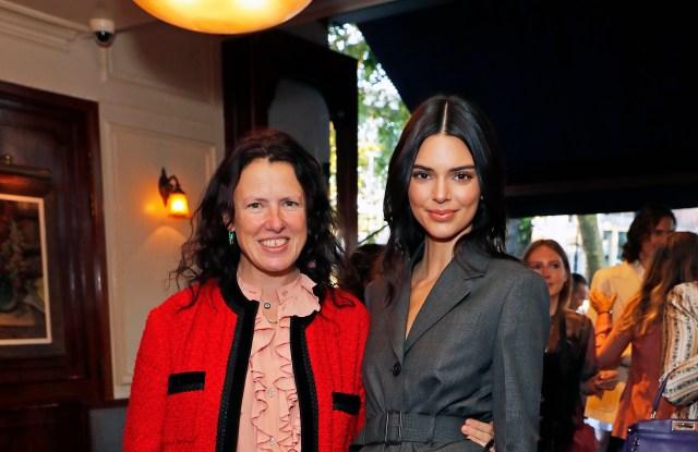 Katie Grand and Kendall Jenner at the #MovingLove dinner hosted by Felicity Jones, Derek Blasberg & Katie Grand at Bellanger