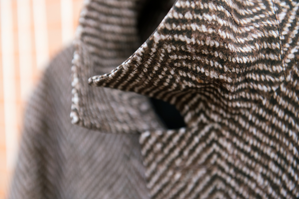 A coat made of Eurojersey's printed Sensitive Fabric.