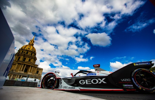 A Geox car for the 2019 Formula-E Championship in New York.