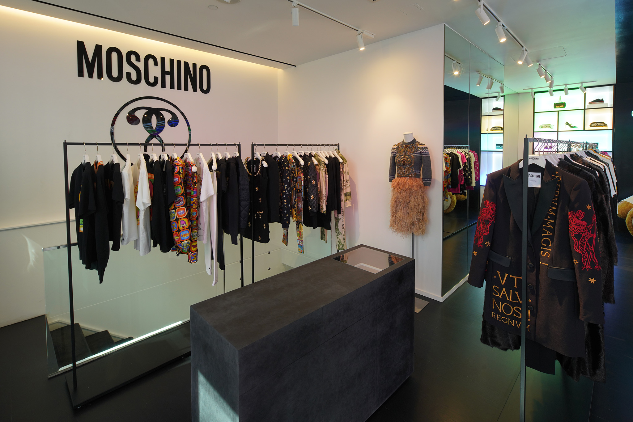 Inside the Moschino store.