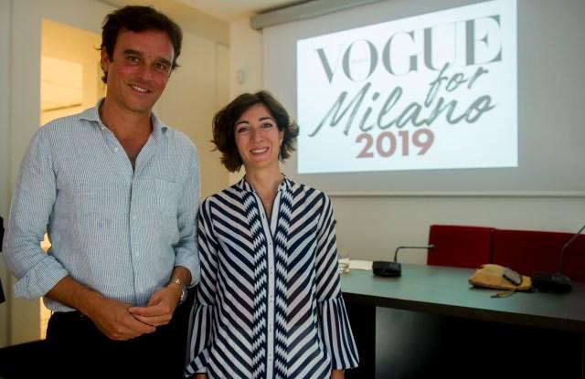 Vogue Italia's editor in chief Emanuele Farneti with Cristina Tajani, Milan's fashion and design city councilor.