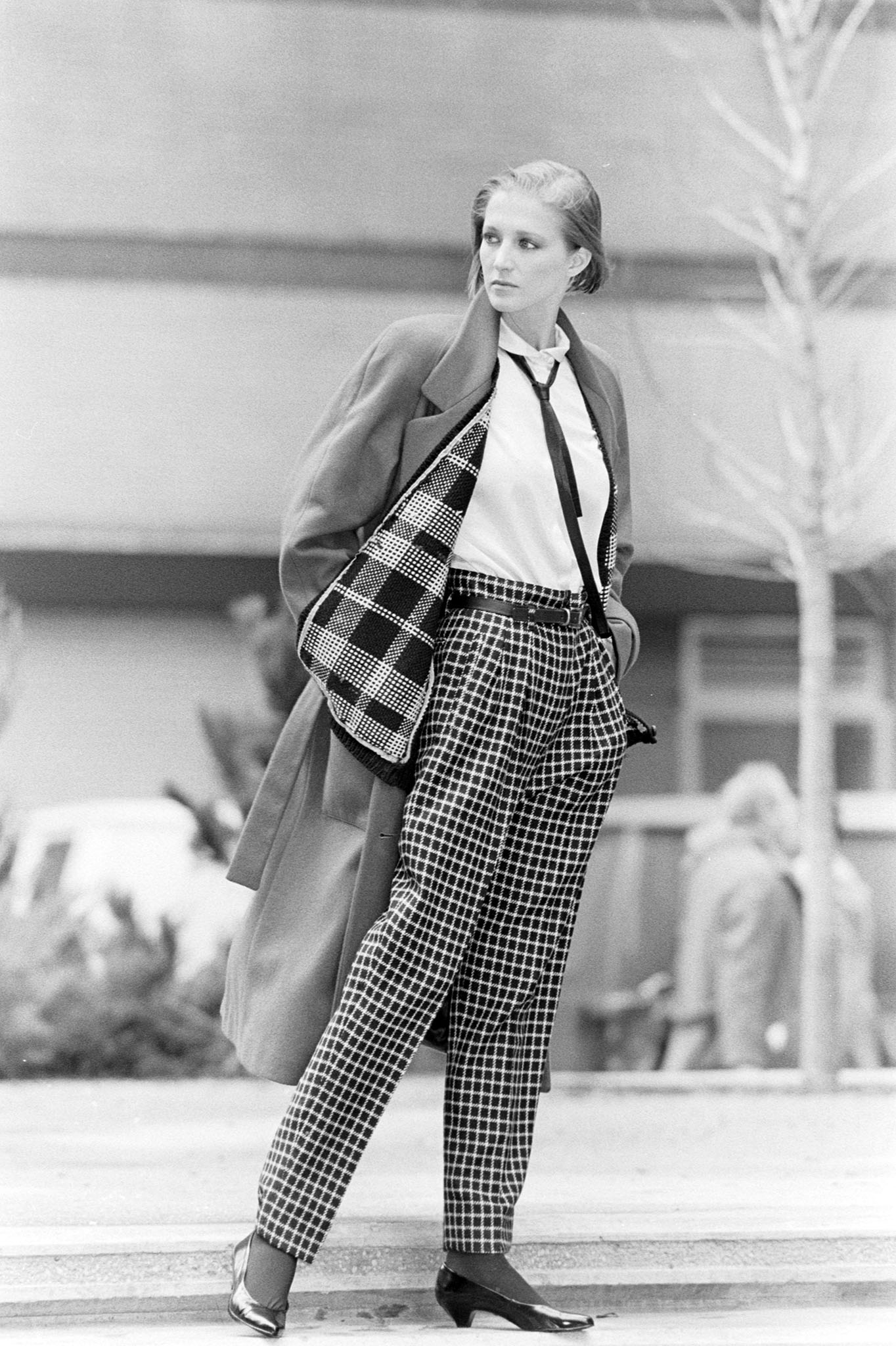 Spitalnick Fall 1984 Sportswear Collection Advance; Model Catherine Timmer