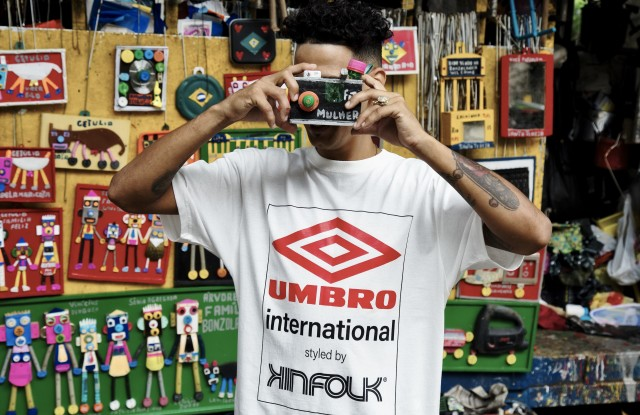 A look from the Kinfolk x Umbro collection.