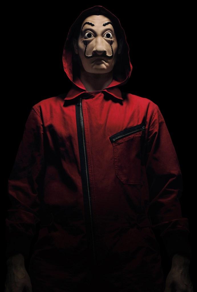 La Casa de Papel's signature red jumpsuit uniform.