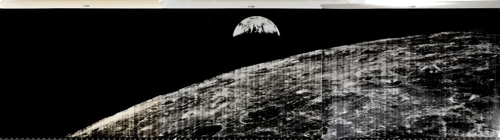 Lunar Orbiter I. Triptych Showing Man's First Look at the Earth from the Moon