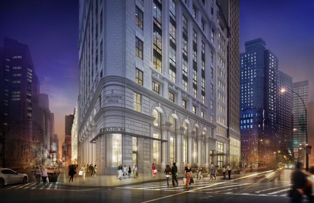 A rendering of Nordstrom at 5 Columbus Circle, on the northwest corner of Broadway and 58th Street.
