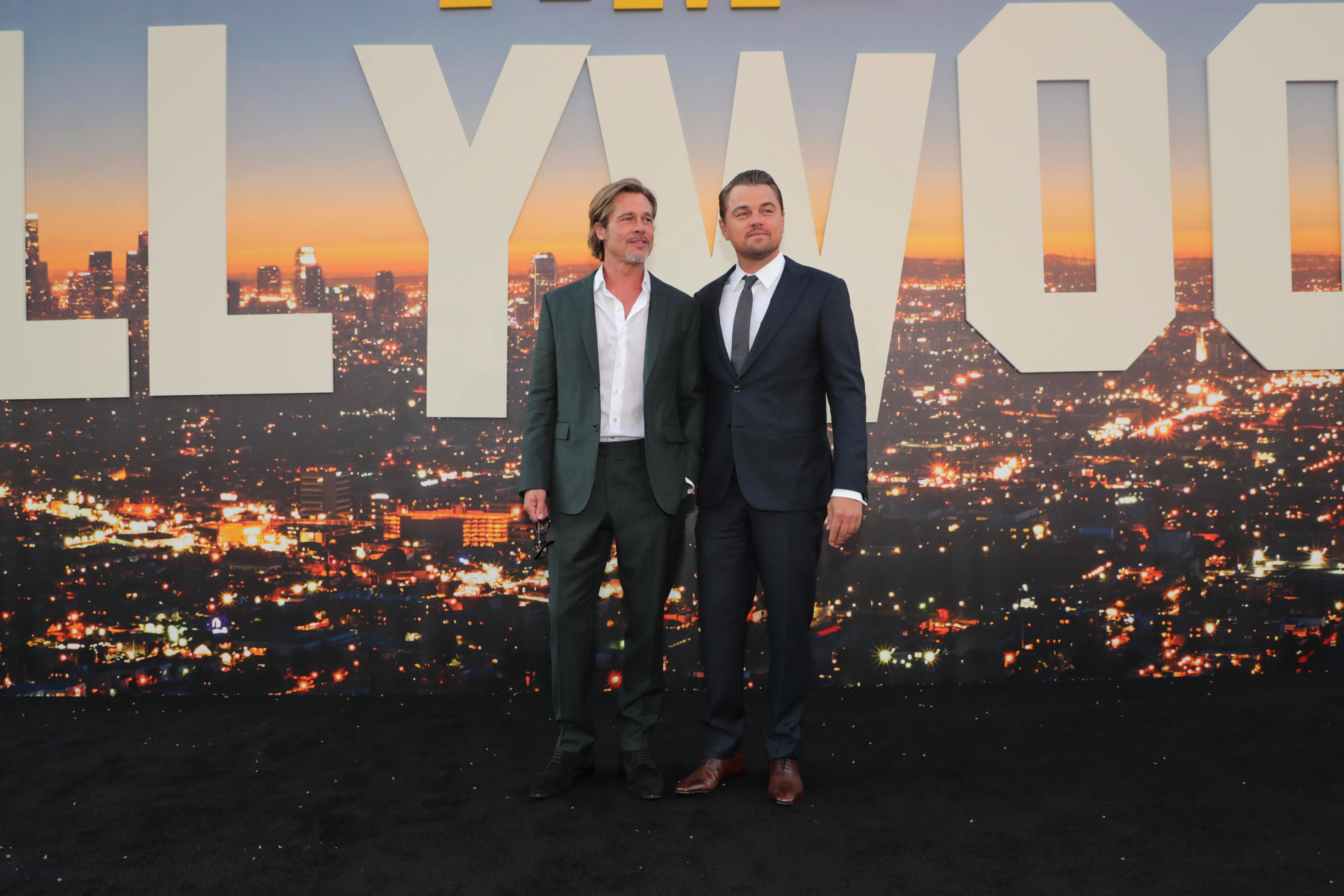 """Brad Pitt and Leonardo DiCaprio at the Premiere of Sony Pictures' """"Once Upon A Time In Hollywood"""" at the TCL Chinese Theatre.Sony Pictures 'Once Upon A Time In Hollywood' film premiere, Arrivals, TCL Chinese Theatre, Hollywood, CA, USA - 22 July 2019"""