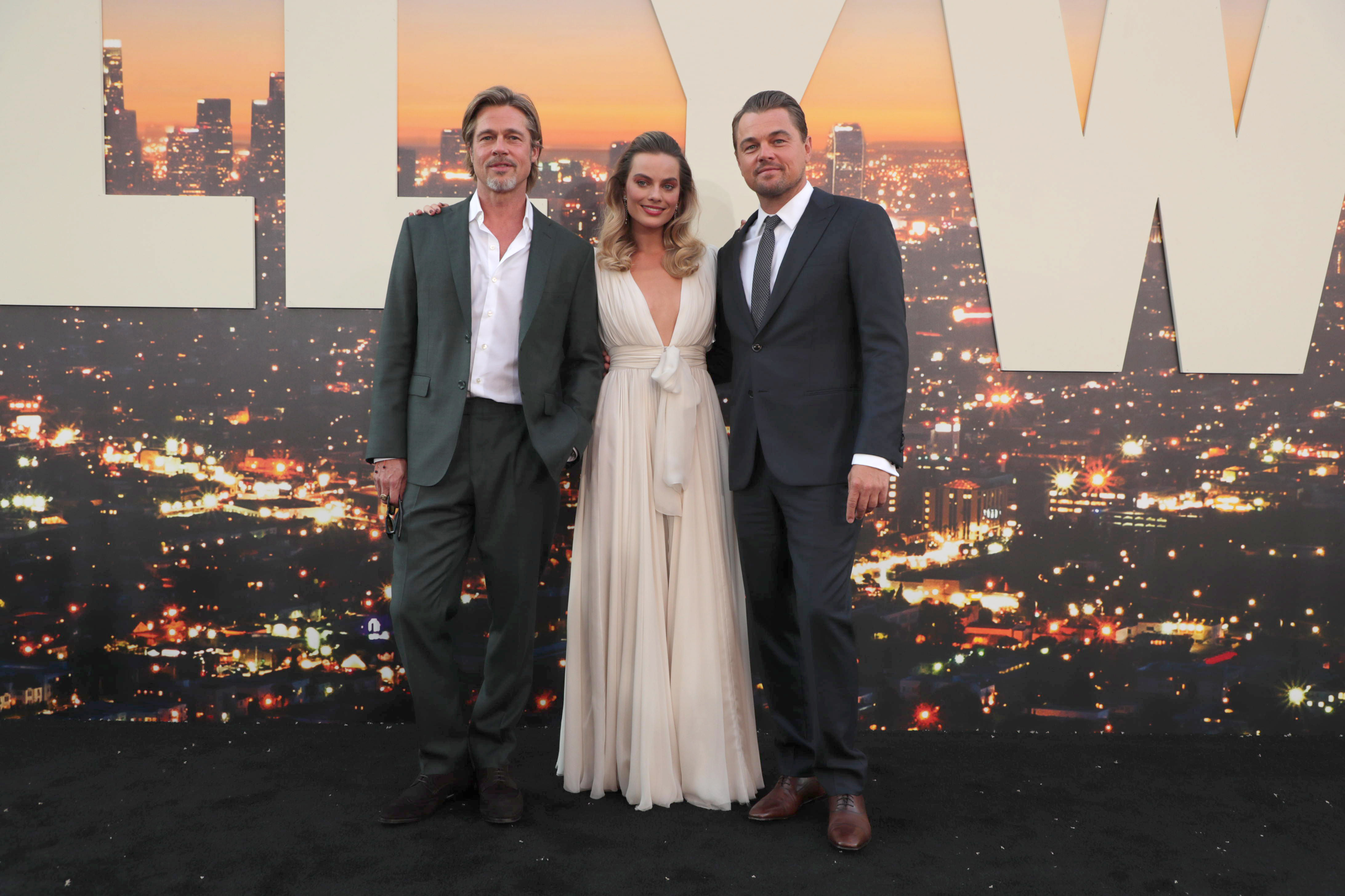 "Brad Pitt, Margot Robbie and Leonardo DiCaprio at the Premiere of Sony Pictures' ""Once Upon A Time In Hollywood"" at the TCL Chinese Theatre.Sony Pictures 'Once Upon A Time In Hollywood' film premiere, Arrivals, TCL Chinese Theatre, Hollywood, CA, USA - 22 July 2019"