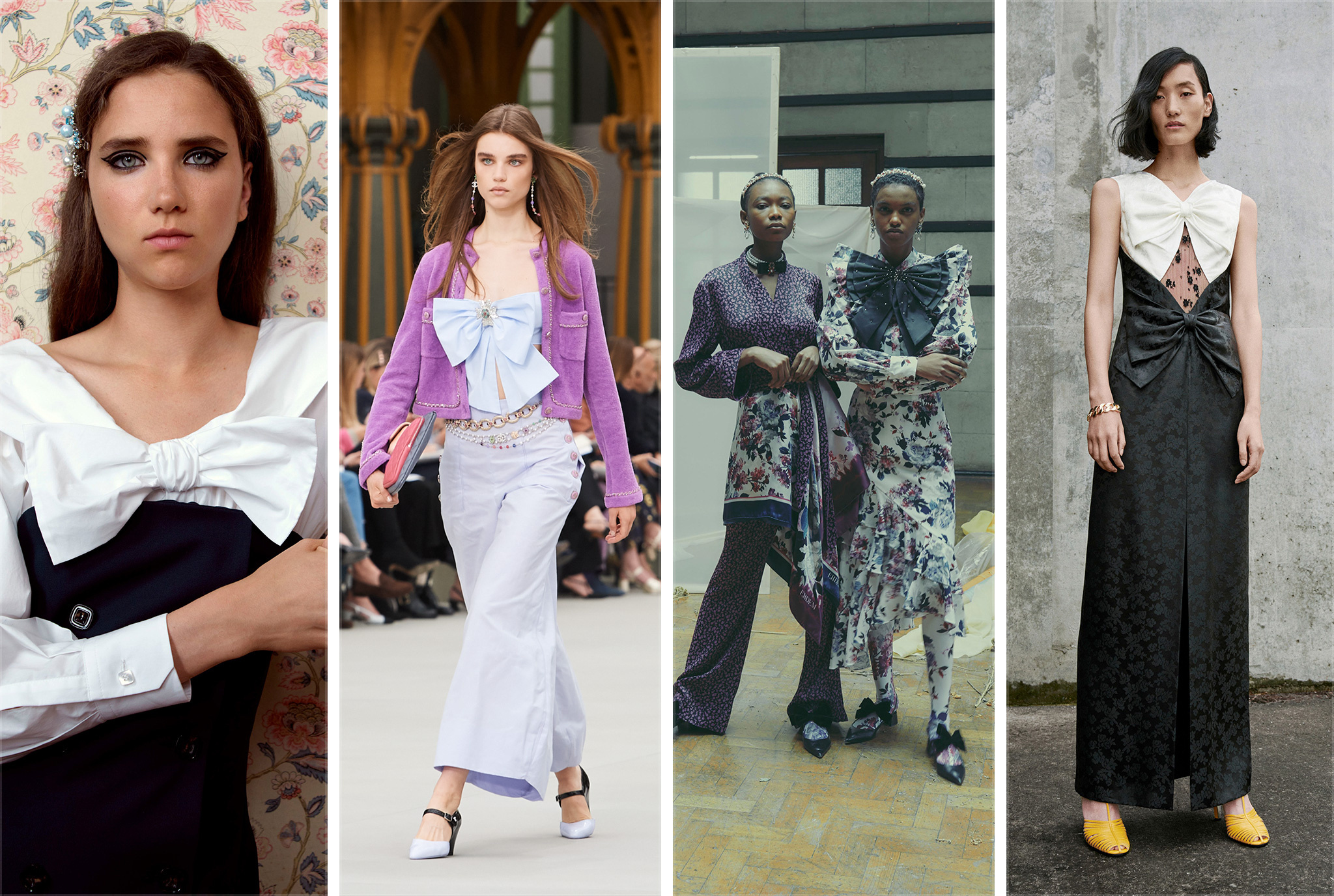Bows -- built in to every evening look from Chanel and Erdem to Givenchy -- offer girly touches to womanly looks.