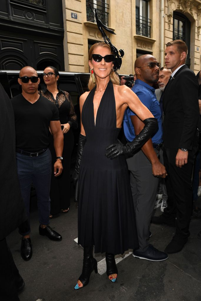 Celine DionSchiaparelli show, Arrivals, Fall Winter 2019, Haute Couture Fashion Week, Paris, France - 01 Jul 2019Wearing Schiaparelli