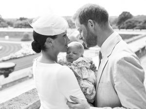 Editorial use only. HANDOUT /NO SALESMandatory Credit: Photo by CHRIS ALLERTON HANDOUT/EPA-EFE/Shutterstock (10329195a) A handout photo made available by the Duke and Meghan Duchess of Sussex shows the official christening photograph with Britain's Prince Harry (R) and his wife Meghan, Meghan Duchess of Sussex (L) holding their son Archie Harrison Mountbatten-Windsor at Windsor Castle with with the Rose Garden in the background in Windsor, Britain, 06 July 2019. NEWS EDITORIAL USE ONLY. NO COMMERICAL USE. NO MERCHANDISING, ADVERTISING, SOUVENIRS, MEMORABILIA or COLOURABLY SIMILAR. NOT FOR USE AFTER AFTER 31 DECEMBER, 2019 WITHOUT PRIOR PERMISSION FROM ROYAL COMMUNICATIONS. NO CROPPING. Copyright in this photograph is vested in The Duke and Meghan Duchess of Sussex. Publications are asked to credit the photographs to Chris Allerton. No charge should be made for the supply, release or publication of the photograph. The photograph must not be digitally enhanced, manipulated or modified in any manner or form and must include all of the individuals in the photograph when published. Royal Baby Archie Mountbatten-Windsor Christening in Windsor, United Kingdom - 06 Jul 2019