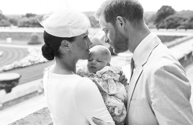 Editorial use only. HANDOUT /NO SALESMandatory Credit: Photo by CHRIS ALLERTON HANDOUT/EPA-EFE/Shutterstock (10329195a)A handout photo made available by the Duke and Meghan Duchess of Sussex shows the official christening photograph with Britain's Prince Harry (R) and his wife Meghan, Meghan Duchess of Sussex (L) holding their son Archie Harrison Mountbatten-Windsor at Windsor Castle with with the Rose Garden in the background in Windsor, Britain, 06 July 2019. NEWS EDITORIAL USE ONLY. NO COMMERICAL USE. NO MERCHANDISING, ADVERTISING, SOUVENIRS, MEMORABILIA or COLOURABLY SIMILAR. NOT FOR USE AFTER AFTER 31 DECEMBER, 2019 WITHOUT PRIOR PERMISSION FROM ROYAL COMMUNICATIONS. NO CROPPING. Copyright in this photograph is vested in The Duke and Meghan Duchess of Sussex. Publications are asked to credit the photographs to Chris Allerton. No charge should be made for the supply, release or publication of the photograph. The photograph must not be digitally enhanced, manipulated or modified in any manner or form and must include all of the individuals in the photograph when published.Royal Baby Archie Mountbatten-Windsor Christening in Windsor, United Kingdom - 06 Jul 2019
