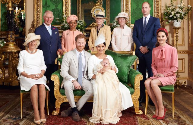 Editorial use only. HANDOUT /NO SALESMandatory Credit: Photo by CHRIS ALLERTON HANDOUT/EPA-EFE/Shutterstock (10329195b)A handout photo made available by the Duke and Meghan Duchess of Sussex shows the official christening photograph with Prince Harry and Meghan, Duke and Meghan Duchess of Sussex (front, C) with their son, Archie and (L-R) Camilla, Camilla Duchess of Cornwall, Prince Charles, Prince Charles, Doria Ragland, Lady Jane Fellowes, Lady Sarah McCorquodale, Prince William, Prince William and Catherine, Catherine Duchess of Cambridge in the Green Drawing Room at Windsor Castle, in Windsor, Britain, 06 July 2019. NEWS EDITORIAL USE ONLY. NO COMMERICAL USE. NO MERCHANDISING, ADVERTISING, SOUVENIRS, MEMORABILIA or COLOURABLY SIMILAR. NOT FOR USE AFTER AFTER 31 DECEMBER, 2019 WITHOUT PRIOR PERMISSION FROM ROYAL COMMUNICATIONS. NO CROPPING. Copyright in this photograph is vested in The Duke and Meghan Duchess of Sussex. Publications are asked to credit the photographs to Chris Allerton. No charge should be made for the supply, release or publication of the photograph. The photograph must not be digitally enhanced, manipulated or modified in any manner or form and must include all of the individuals in the photograph when published.Royal Baby Archie Mountbatten-Windsor Christening in Windsor, United Kingdom - 06 Jul 2019