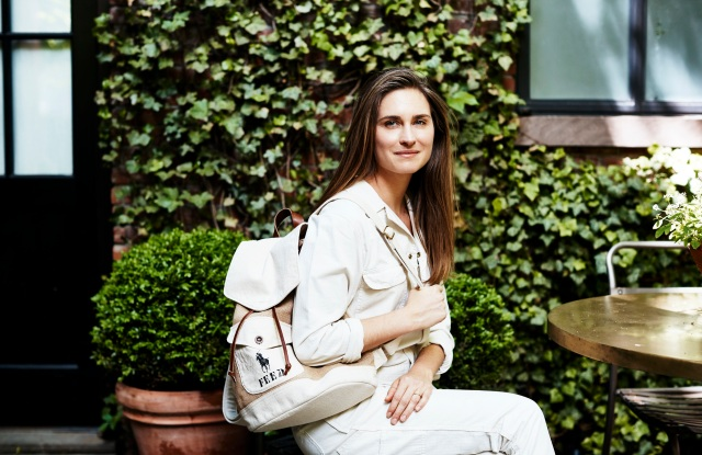 Lauren Bush Lauren with the backpack from the Polo x Feed capsule.
