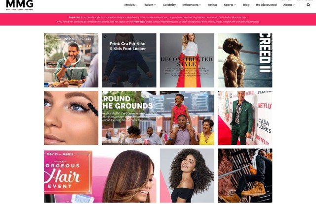 MMG warns models of impersonators on its site's home page.