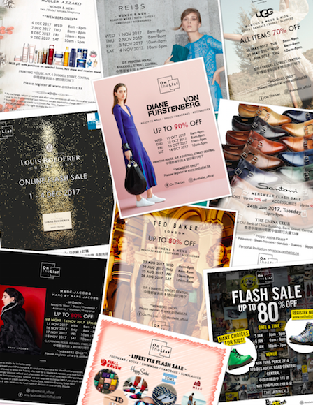 Flyers for On The List flash sales.