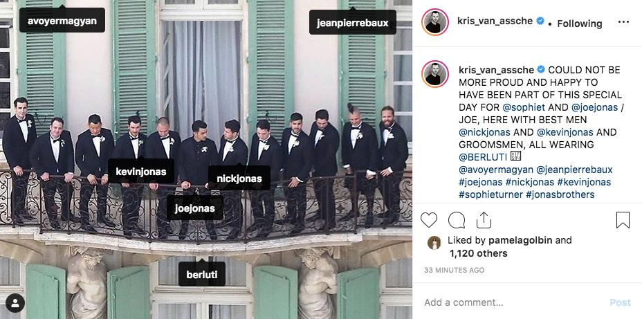 Joe Jonas, his best men and groomsmen in Berluti suits.