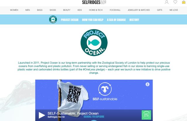 Selfridges Project Ocean