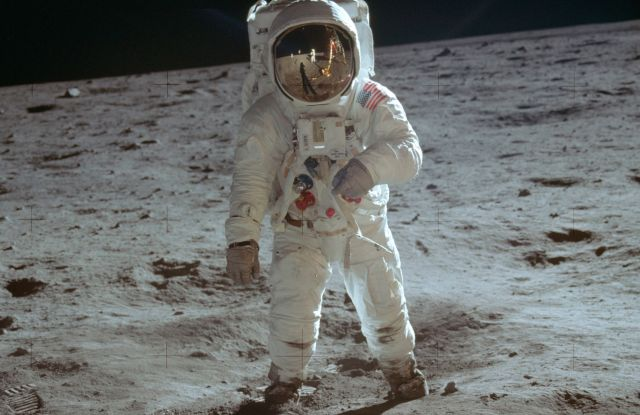 ADVANCE FOR USE AND THEREAFTER-In this July 20, 1969 photo made available by NASA, astronaut Buzz Aldrin, lunar module pilot, walks on the surface of the moon during the Apollo 11 extravehicular activityMoon Landing 50 Years - 04 Jul 2019