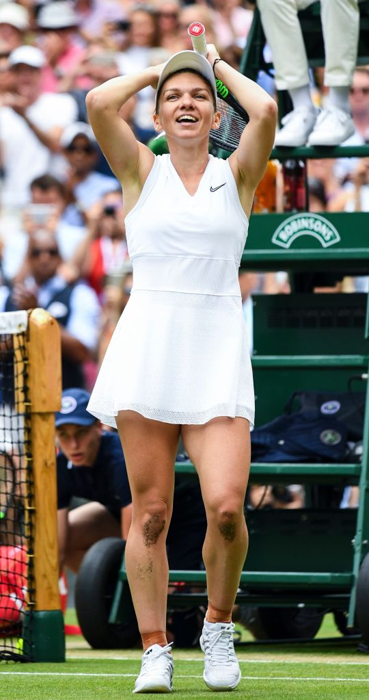 Simona Halep celebrates victory in her Ladies' Singles finalWimbledon Tennis Championships, Day 12, The All England Lawn Tennis and Croquet Club, London, UK - 13 Jul 2019