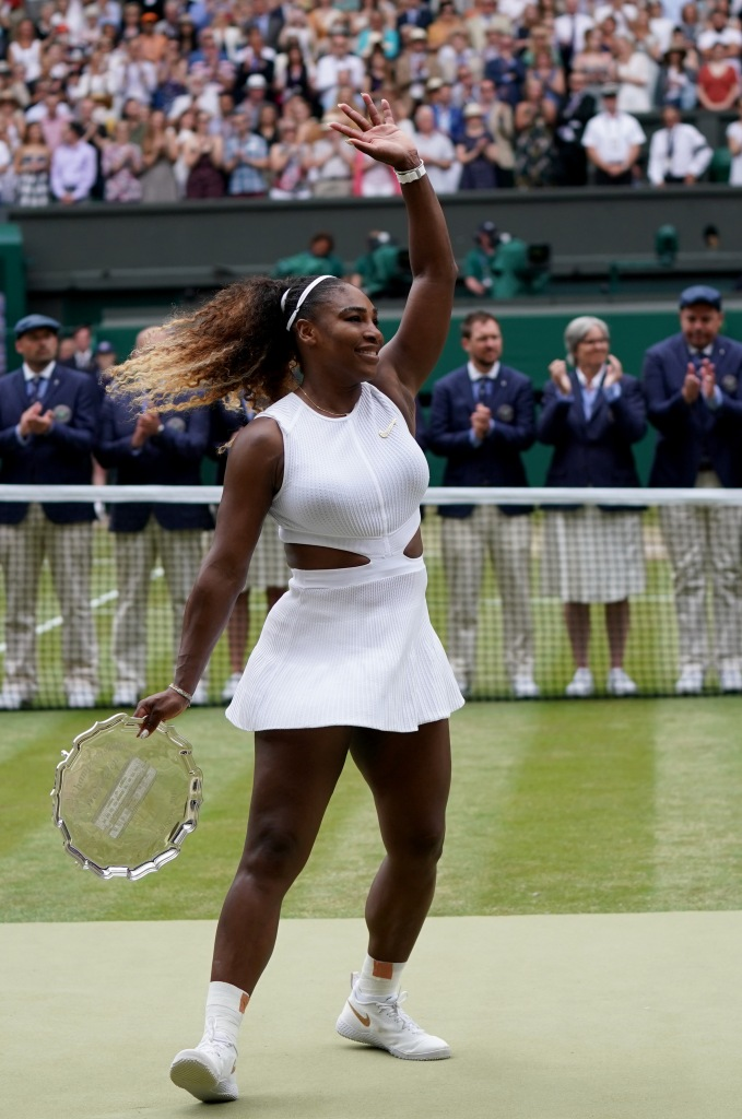 Editorial use onlyMandatory Credit: Photo by NIC BOTHMA/EPA-EFE/Shutterstock (10333583dn)Serena Williams of the USA reacts after losing against Simona Halep of Romania during their final match for the Wimbledon Championships at the All England Lawn Tennis Club, in London, Britain, 13 July 2019.Wimbledon Championships, United Kingdom - 13 Jul 2019