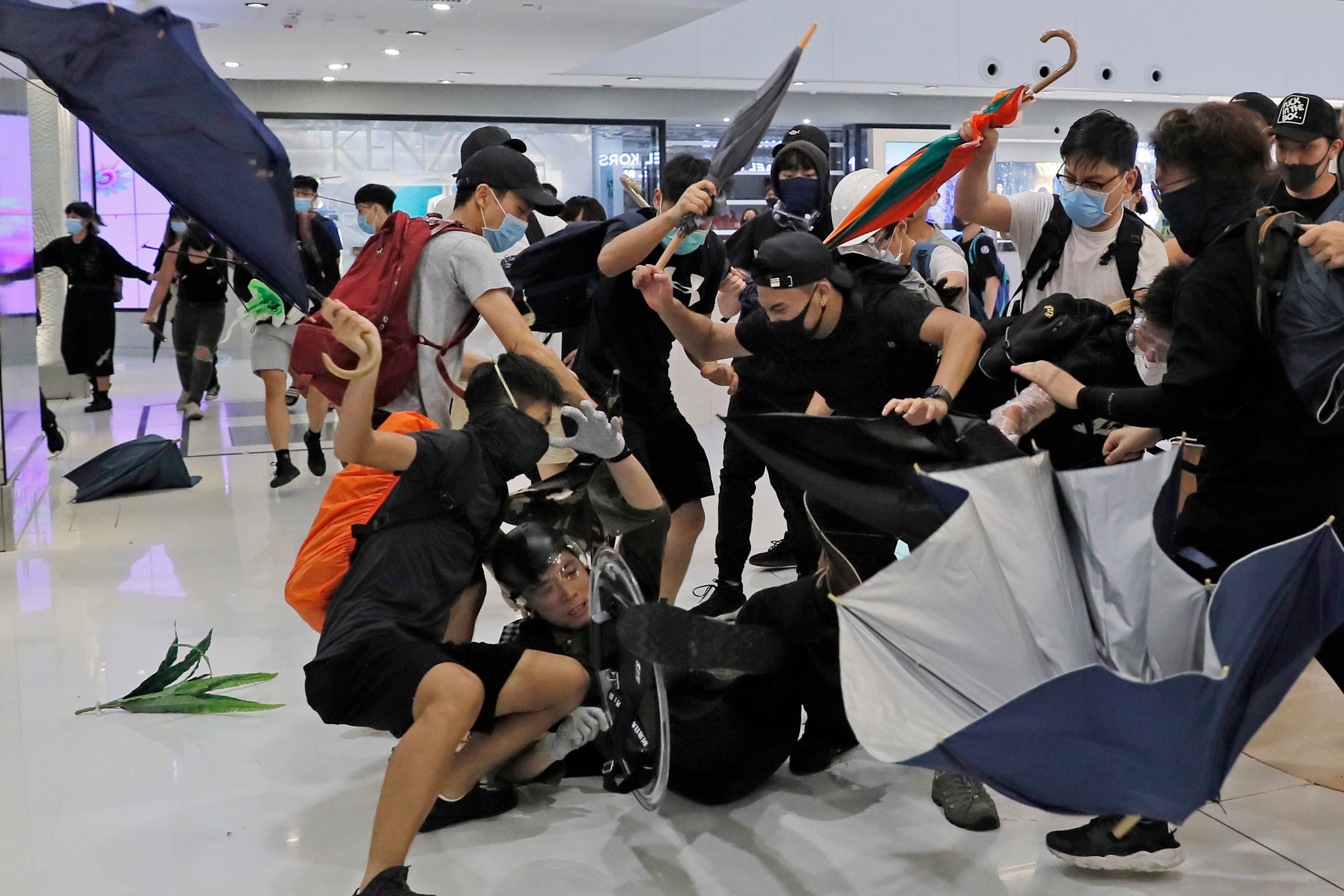 Violent clashes between police and protesters occurred last weekend inside Sha Tin's New Town Plaza mall.