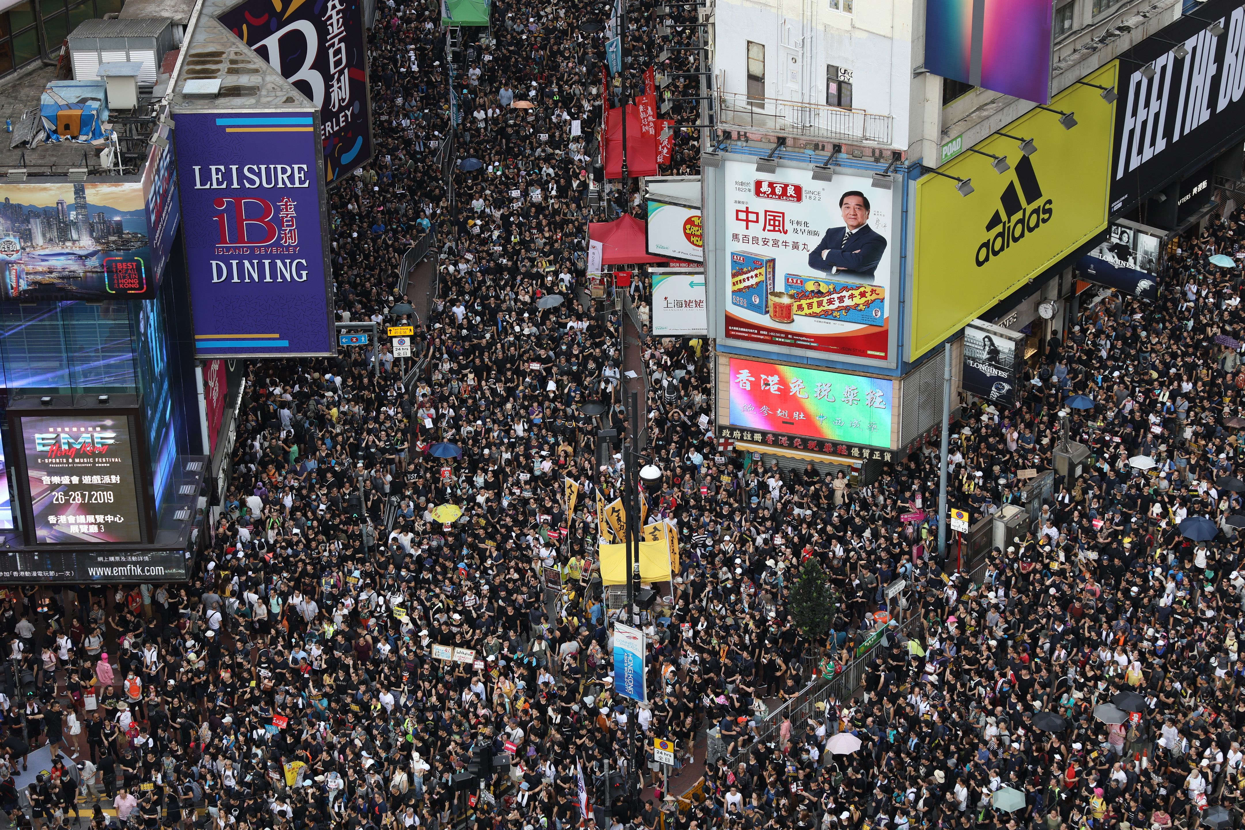 An aerial view of Sunday's route which began in Causeway Bay.